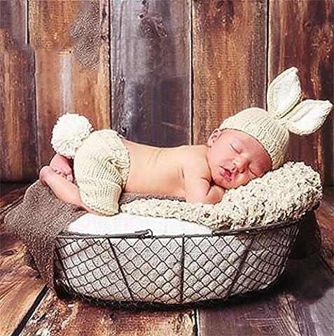 PEPEL Baby Neugeborene Fotografie Requisiten, die niedliche Kaninchen Handarbeit häkeln gestrickt Unisex Baby Gap Hosen