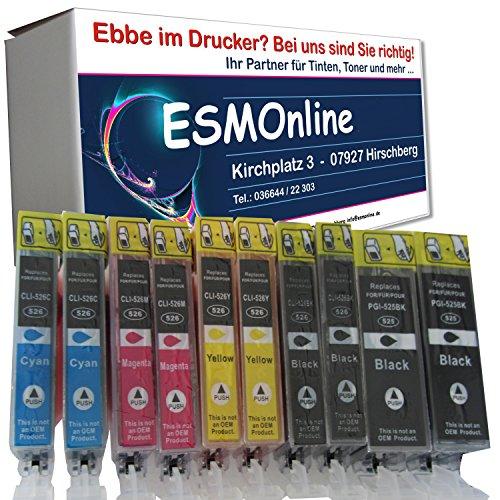 ESMOnline 12 komp. Canon Druckerpatronen für Canon Pixma iP4850 iP4950 iX6550 MX715 MX885 MX895 MG5100 MG5150 MG5200 MG5250 MG5300 MG5350 MG6150 MG6250 MG8150 MG8250