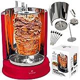 Kesser Dönergrill 1400W Spießgrill Kebap Rotisserie Drehgrill Hähnchengrill mit Drehspieß Grill Gyros - Gyrosgrill Schaschlikspieße | Gleichmäßige 360°C Hitzeverteilung | Tischgrill ROT
