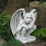 Große massive Steinfigur Gargoyle - Der Nachdenkliche aus Steinguss frostfest