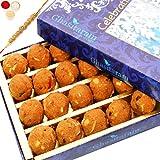 Ghasitaram Gifts Rakhis For Brother Rakhi Sweets - Ghasitaram's Special Besan Laddoo (200 gms) with Om Beads Rakhi
