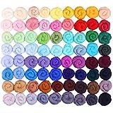 Fuyit Filzwolle Märchenwolle 72 Farben Filzwolle perfekt filznadeln für Nassfilzen und Trockenfilzen DIY Handwerk Weihnachten Puppe Kammzug Fein Deko (72 Colors)