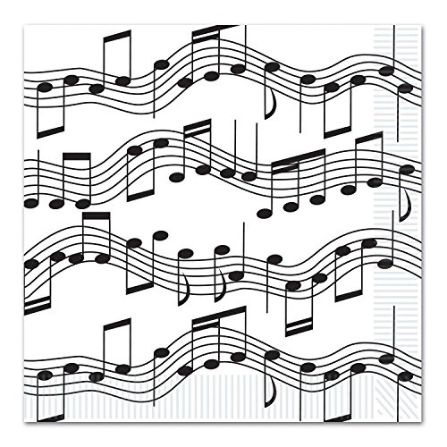 Confezione da 12, 16tovaglioli pasto 2-ply Note Musicali
