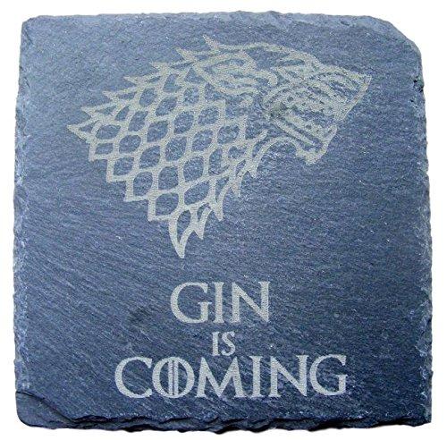 FastCraft Game of Thrones inspiriert Untersetzer für Getränke, Matte mit Geburtstagsgeschenk Hochzeit Geschenkidee für kommt mit Gin, Schiefer, 2er-Set -