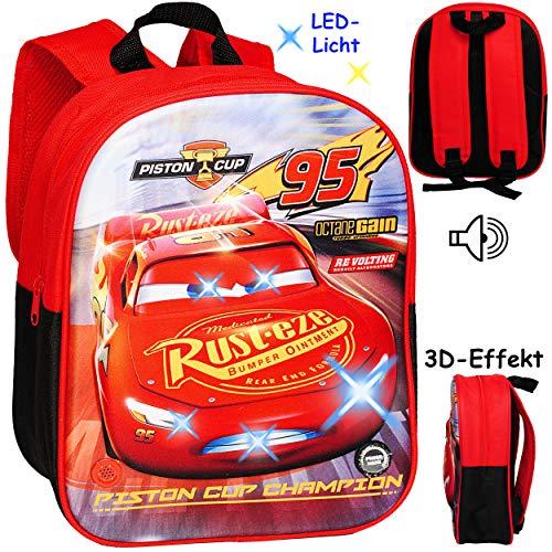 alles-meine.de GmbH 3D Effekt & LED Licht + Sound ! _ Kinder Rucksack - Disney Cars - Auto - Lightning McQueen - Tasche - wasserfest & beschichtet - Leuchtend Geräusch Musik - Ki.. (Auto-rucksack)