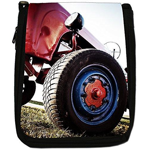 Trattore Medium Nero Borsa In Tela, taglia M Old Vintage Red Tractor