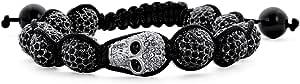 Bling Jewelry Goth Gunmetal Oro Teschi Sfera Cristallo Palla Shamballa Ispirato Braccialetto per Donne per Gli Uomini Corda Nero Corda Regolabile