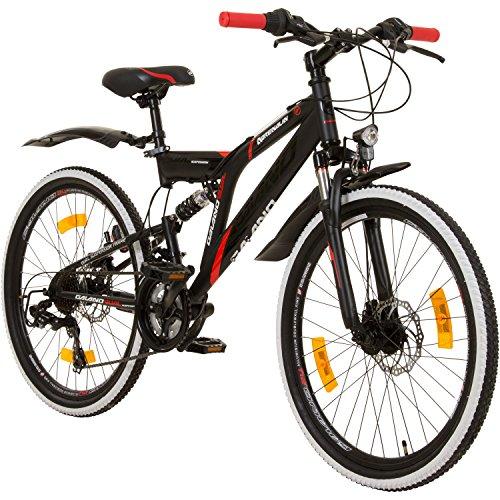 24 Zoll MTB Fully Galano Adrenalin DS Mountainbike STVZO Jugendfahrrad, Farbe:Schwarz / Rot