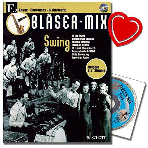 Bläser-Mix Swing – Die Serie für alle Blasinstrumente – Melodie und 2. Stimme – Klarinette Saxophon Noten mit herzförmiger Notenklammer
