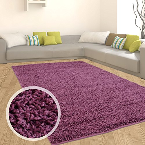 Myshop24h - tappeto a pelo lungo flokati, morbido in 9 colori, tappeto moderno per salotto, lilla, 140 cm_x_200 cm