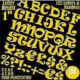 Profi-Pack von 122PCS X 2,5cm (2,5cm) selbstklebend gelb Buchstaben & Zahlen Aufkleber gratis Interpunktion wasserfest groß Schriftzug sign-writing Wasser Proof jedes Projekt Schriftart RAVIE
