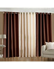 Luxury Homes Modern Polyester Long Crush 3 Piece Curtain Set