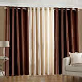 Luxury Homes Modern Polyester Long Crush 3 Piece Curtain Set - (2 Brown 1 Cream) - 7ft