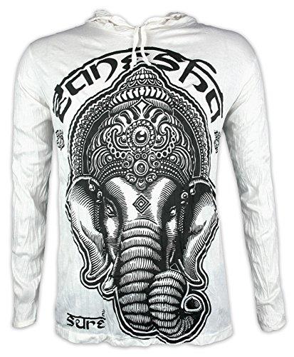 Sure Camiseta con Capucha Hombre Ganesha - El Dios Elefante Talla M L XL India Hinduismo Buda Yoga (M, Blanco)