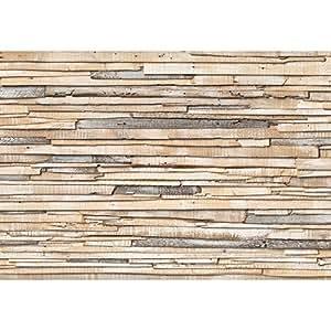 "KOMAR papier-peint photo en tissu non-tissé motif ""whitewashed wood, 368 x 254 cm, en 8 parties."