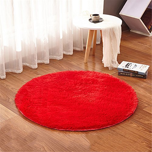 linyingdian 120cm (4-Feet) Alfombras redondas Super Soft Living Room Dormitorio Home Shag Carpet (Rojo)