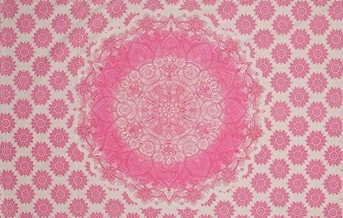 Single Indian Pink Weiß Ombre Mandala Wandteppich für Überwurf Hippie Gypsy Bohemian Wohnheim Deco Bezug 100% Baumwolle Twin 203,2x 137,2cm -