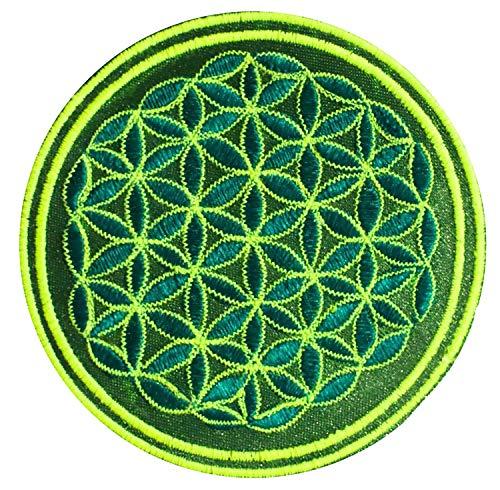 es Lebens Aufnäher grün UV gelb (≈9cm Patch, Heilige Geometrie, UV aktiv) flower of life Drunvalo Melchizedek fol-greenylw ()