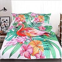 WFH Heimtextilien Flamingo 3-Teilig Bettwäsche Bettbezug, 3 Stück Reversible Polyester Bettbezug Set Enthält 1X Bettbezug - 2X Kissenbezug,King264cmx228cm