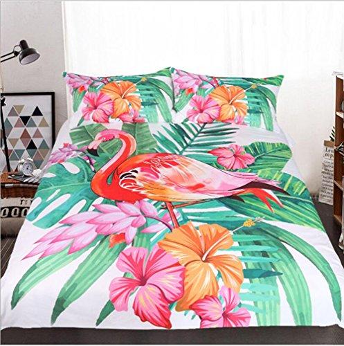 WFH Heimtextilien Flamingo 3-Teilig Bettwäsche Bettbezug, 3 Stück Reversible Polyester Bettbezug Set Enthält 1X Bettbezug - 2X Kissenbezug,Twin173cmx218cm