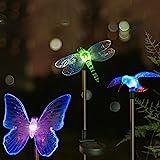 Hardoll Hummingbird,Butterfly & Dragonfly LED Solar Garden Stake Light for Home (Pack of 3)