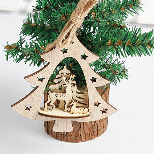 Producto navideño, JiaMeng Copo de Nieve Adornos de Madera Árbol de Navidad...