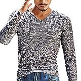 UJUNAOR Männer Solide V-Ausschnitt Lange Ärmel T-Shirt Top Schlanke Bluse(EU L/CN XL,Grau)