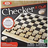 POOF-Slinky - Ideal Checker It Out Game with Wooden Board and Pieces, 37255BL by Ideal (English Manual)