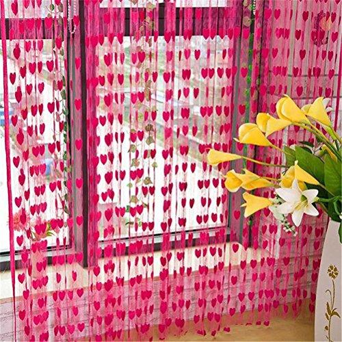 Cf® 1pcs 3mx3m heart tassel string line tende per la casa di cerimonia nuziale soggiorno camera camera divisore divisore hotel cafe shop valance decorazione , rose red