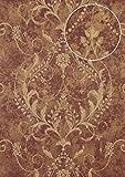Barock Tapete Atlas ATT-5084-3 Vliestapete geprägt mit floralen Ornamenten glänzend rot violett bronze creme-weiß 7,035 m2