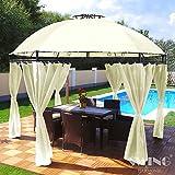 Pavillon Rund, Groten Luxus Hochwertiges Wasserdicht Polyester 350 cm Gartenzelt mit 6 Vorhängen für Party und Oktoberfest Farbwahl (Creme)
