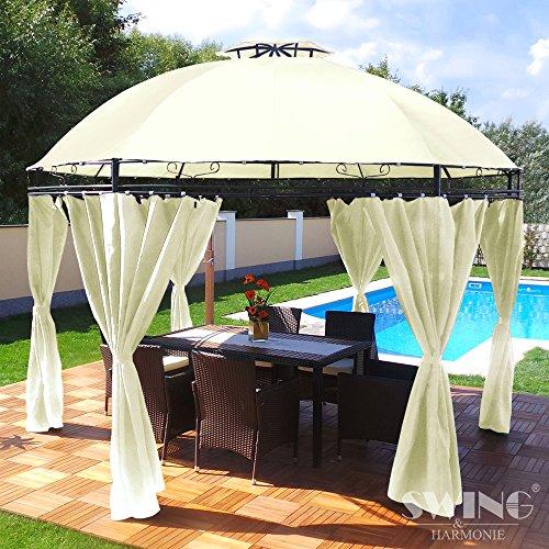Groten Luxus Pabellón redondo, poliéster, alta calidad, resistente al agua, 350cm, cenador con 6cortinas para fiestas y Oktoberfest, color a elegir, beige