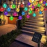 Lichterkette Solar Aussen, Vegena Bunt LED Lichterkette Außen Kristall Kugel 12M 100 LEDs 8 Modi IP65 Wasserdicht für Garten Bäume Terrasse...