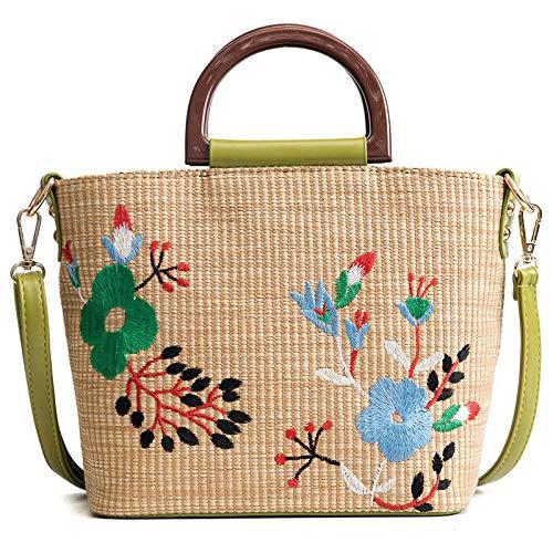 LFGCL Taschen womenStraw Tasche gestickte gesponnene Handtaschen Arbeiten das bewegliche diagonale Paket der Blumenschulter um, schwarz