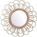 RecoverLOVE Miroir en rotin Fleur, Color Naturel Miroirs muraux Penderie décorative Miroir avec rotin Naturel Art Déco Miroir