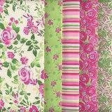 Bundle de telas - 5 telas (Colección 'un jardín rústico' - rosa y menta) - colección de telas de coordinación (pequeños diseños)   100% algodón   46 x 56 cm