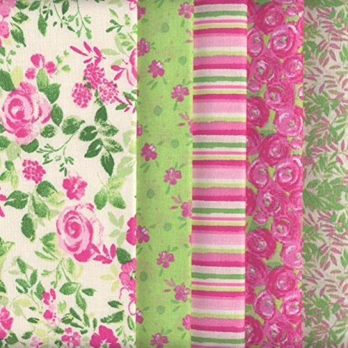 Bundle de telas - 5 telas (Colección 'un jardín rústico' - rosa y menta) - colección de telas de coordinación (pequeños diseños) | 100% algodón | 46 x 56 cm