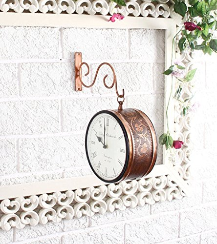 Swagger 8 inch Double Side Vintage wall clock / Victorian Royal Station Clock / Platform Analog Wall Clock with Copper Plating / Copper Finish