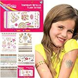 GirlZone: Glitzertattoo 65er Set - Temporäre Flash Tattoos & Klebetattoos - 65 Temporätattoos - Tattoo Sticker Kinder - Mitgebsel Kindergeburtstag & Mädchen
