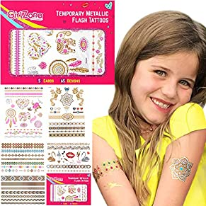 GirlZone Regalos para Niñas   Tatuajes Niñas   Pack de 65 Tatuajes Temporales para Niñas   Dorados, Metálicos Y Brillantes   Flash Tattoos 4 5 6 7 8 9 10 11 12 Años   Halloween
