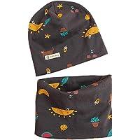 Set di Berretto e Sciarpa Berretto di Cotone per Unisex Bambini Primavera e autunno Cappello Sciarpe Bandana da Bambino