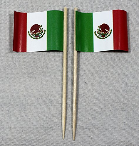 Party-Picker Flagge Mexiko Papierfähnchen in Profiqualität 50 Stück 8 cm Offsetdruck Riesenauswahl aus eigener Herstellung (Mexiko Halloween In)