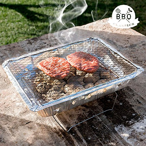 qtimber Barbacoa Desechable BBQ Classics 5 x 24.4 x 31 cm barbecue a carbone, barbecue a gas, barbecue elettrico, barbecue