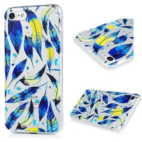 iPhone 7 Funda TPU Silicona Suave Ultra Delgada Transparente,YOKIRIN Carcasa Pintada Cubierta Dibujos Case para iPhone 7 4.7 Pulgadas Completa Protección para Choques - Pluma Azul