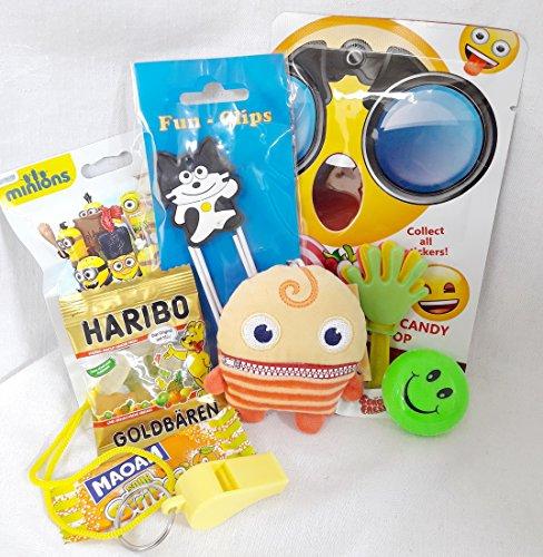 110093 Geschenk Set Bobbel für Kinder Sorgenfresser Schlüsselanhänger Minion Blindbag Fun Clip Emoji Candy Yoyo als Geschenk verpackt