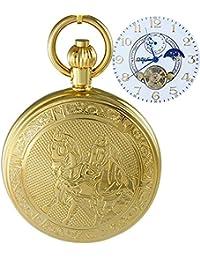 Ogle impermeable oro caballo blanco fases y Tourbillon luna colgante collar cadena llavero esqueleto automático mecánico reloj de bolsillo