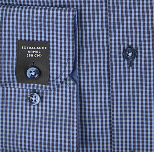 ETERNA Modern Fit Hemd extra langer Arm Karo dunkelblau AL 68 Dunkelblau