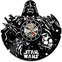 Star Wars negro vinilo decorativo reloj de pared disco