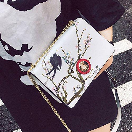 Weibliche Blüte Tintenstrahlnagelkette Kleine Quadratisches Paket Nationaler Stil Schulter Messenger Bag Weiß