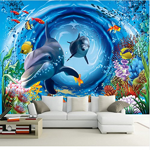 Mznm mznmcustom 3D Wandbild 3D Ozean Tapete Restaurant Thema Hotel Kinder Zimmer Aquarium Schlafzimmer Dekoration Sea World Tapete Wandbild 280x200cm